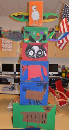 """We read some stories and watched some YouTube videos to learn about totem poles. We learned that totem poles tell stories or represent the families in a tribe. Each """"family"""" of students chose an animal to represent their group. I love how our totem poles turned out this year."""