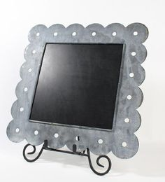 "12-1/4""x 12-1/4"" Weathered Square Metal Chalkboards with Scalloped Cut Edging - Wedding Chalkboard Rustic Signs with a Vintage Natural Look - Set of 2 (Stand Sold Separately) Whimsical Wonders http://www.amazon.com/dp/B007TXS9HW/ref=cm_sw_r_pi_dp_BxRsub1YHV8Y3"