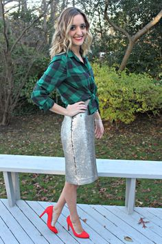 Fashion inspired by the people in the street ootd look outfit sexy heels leather skirt silver metallic a holiday party look