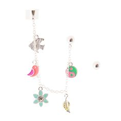 <P>Girly and unique, a silver ear cuff is attached to a crystal stud. The chain features a blue fish, a purple and orange bird, a mint flower with crystal center, a yellow leaf, and a pink and green ying yang. Another silver ball earring completes the set. </P><UL><LI>Silver-tone finish <LI>Studs: Feature a stud back and butterfly fastening <LI>Ear cuff: Features an adjustable cuff </LI></UL>
