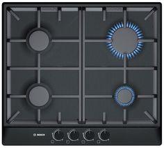 Bosch PCP616B90E 4 Burner Black Brushed Steel Gas Hob | Departments | DIY at B
