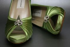 Wedding Shoes -- Spring Green Peeptoes with Simple Rhinestone and Pearl Adornment