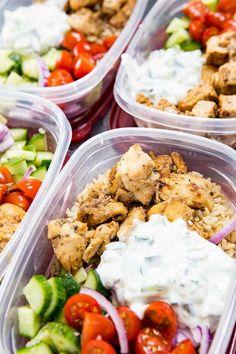 Meal Prep Bowls, greek chicken marinaded, tzatziki, and cucumber salad