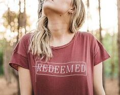 SALE Redeemed Distressed Women's Tee Women's Christian Graphic Tee, Christian Shirts, Faith TShirts, Christian T shirts, Redeemed Shirts