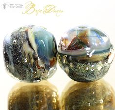 Glass lampwork beads Baja Dunes Organic Duo handmade for artisan jewelry design (2)