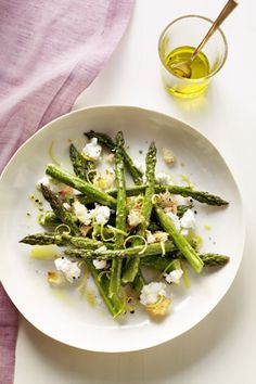 Roasted Asparagus Salad with Goat Cheese and Bread Crumbs - AMAZING summer dish or anytime dish - nj