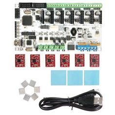 Geeetech reprap 3d printer control board Rumba + A4988 stepper driver+ Heatsink + sticke+usb kits  Free Shipping