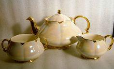 VINTAGE ELLGREAVE BURSLEM ENGLAND LUSTERWARE TEA SET w POT CREAM SUGAR c 1930 s!