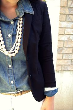 white pants, gold skinny belt, button down chambray blouse, navy blazer, white necklaces