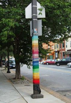 I'm really in love with the bright smack of color a bombed post or tree gives the ol' eyeball.