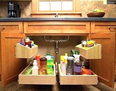 Try This 15 Storage Solution for you #Homedecor Small Kitchen Organization, Small Kitchen Storage, Kitchen Storage Solutions, Farmhouse Kitchen Cabinets, Kitchen Cabinet Organization, Smart Kitchen, Kitchen Drawers, Organized Kitchen, Kitchen Sinks