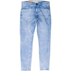 Pre-owned Current/Elliott The Stiletto Light Wash Jeans (1.008.225 IDR) ❤ liked on Polyvore featuring jeans, blue, button-fly jeans, light blue jeans, light jeans, light wash jeans and blue jeans