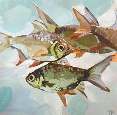 "Daily Paintworks - ""Shark Bait"" - Original Fine Art for Sale - © Teddi Parker - Bilder am Wasser - Painting Inspiration, Art Inspo, Fish Drawings, Water Art, Fish Art, Animal Paintings, Fine Art Gallery, Art Sketches, Painting & Drawing"