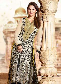 Buy Bollywood Designer Abaya Style Anarkali In Cream & Black $127.33 .  Buy at - bollywood-ankle-length-anarkali.blogspot.co.uk/2014/06/buy-bollywood-designer-abaya-style.html