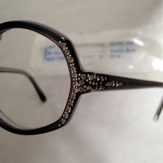 Vintage Jeweled and Studded Eyeglass Frames by Best Opt. in Black from France, Ladies Eyewear, $85 on etsy