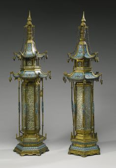 A PAIR OF CLOISONNE ENAMEL, GILT-BRONZE AND WHITE HARDSTONE PAGODAS MOUNTED AS LAMPS QING DYNASTY, 19TH CENTURY