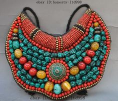 """9"""" tibetan tibet buddhism Cloth Inlay Turquoise Red Coral Amulet periapt Pendant"""