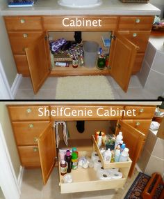 Organizacion   Organizer   The Recipe For Turning This Cabinet Into A  ShelfGenie Cabinet: Add One Pull Out Towel Bar, One Pull Out Shelf, One  Riser Shelf, ...