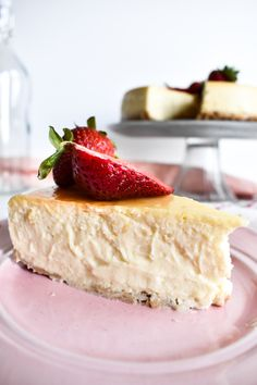 This creamy dairy free cheesecake is the ultimate indulgent high protein dessert! It's made with non-dairy Greek yogurt and tons of vegan cream cheese made with tofu!!