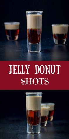 This jelly donut shot recipe is so fabulous! You layer Chambord and Baileys and when you shoot it, you get a delicious jelly donut taste in your mouth! No chewing needed :) Liquor Drinks, Non Alcoholic Drinks, Bourbon Drinks, Frangelico Drinks, Chambord Cocktails, Bartender Drinks, Candy Drinks, Martinis, Cocktail Shots