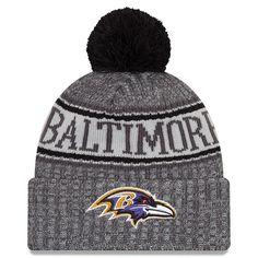 443c3243a0a Men s Baltimore Ravens New Era Graphite 2018 NFL Sideline Cold Weather  Graphite Sport Knit Hat