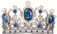 Pauline Bonaparte's tiara made of diamonds, pearls, and blue sapphires.