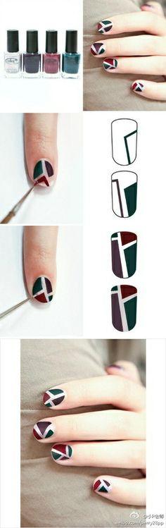 tutorial de unhas decoradas geometrica