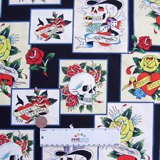ed hardy fabric in Fabric Crafts Ed Hardy Tattoos, Hearts And Roses, Card Tattoo, Fabric Crafts, Skulls, Cotton Fabric, Yard, Holiday Decor, Clothes Crafts