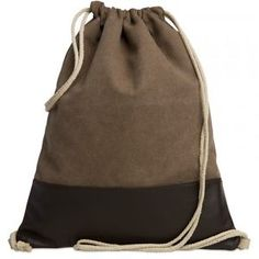 CASPAR-Damen-Herren-Baumwoll-Canvas-Leder-Turnbeutel-Rucksack-MADE-IN-ITALY