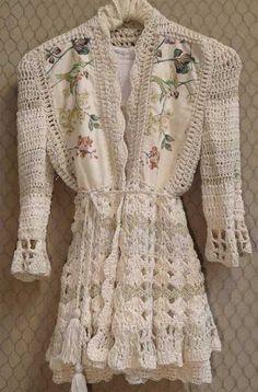 Paula y Agustina Ricci Crochet Coat, Crochet Fabric, Crochet Jacket, Crochet Cardigan, Love Crochet, Crochet Shawl, Crochet Clothes, Crochet Patterns, Couture