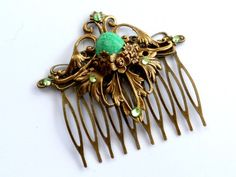 Elegant hair comb in green bronze in an antique style with gemstone   Jewelry-treasure-chest - Accessories on ArtFire