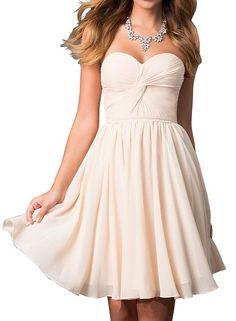 Lovelybride Simple Sweetheart Pleated Chiffon Short Prom Bridesmaid Dress