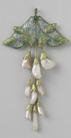 An Art Nouveau gold, enamel and pearl 'Wisteria' pendant, by Georges Fouquet and Étienne Tourrette, circa 1908-1910. Signed 'G. FOUQUET', and numbered. #Fouquet #ArtNouveau #pendant