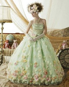 Green and floral wedding gown