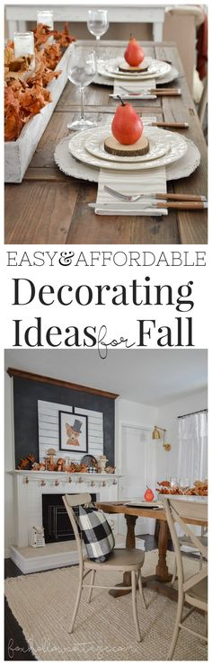 Easy Affordable Decorating Ideas for Fall www.foxhollowcottage.com - Mixed Cottage Farmhouse Style, Farm Table and Mantel Decor. Linens, Fox Art from @HomeGoods - sponsored pin