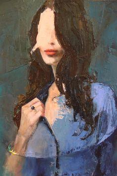 "Saatchi Online Artist: Fanny Nushka Moreaux; Oil 2013 Painting ""Blue Shirt (SOLD)"""