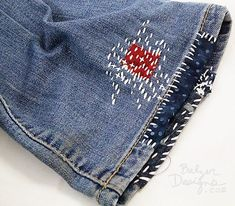 from the Balzer Designs Blog: Sashiko/Japanese Boro Jeans for Fourth of July