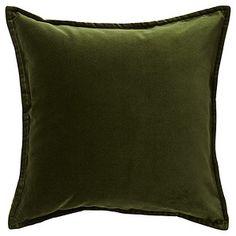 Bukhara Velvet Cushion - Dark Olive