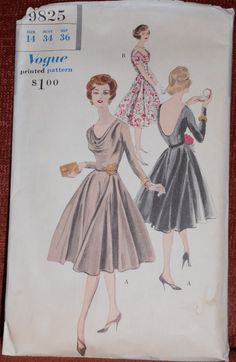 Vintage Vogue 1950s Cowl Neck Scoop Back Flared Skirt Dress Pattern Vogue 9825 circa 1959