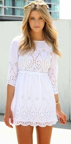 Super cute white lace detail mini dress   HIGH RISE FASHION