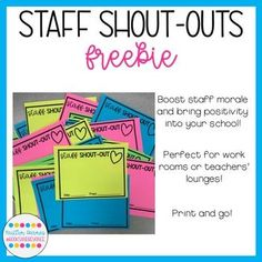 Does your school need a positivity boost? My Staff Shout Out Slips are the perfect way to jazz up your work room or teachers' lounge and lift up morale. Just print on bright colored paper, attach to a wall or cabinet, and invite teachers and staff members Teacher Morale, Staff Morale, Employee Appreciation Gifts, Teacher Appreciation Week, Volunteer Appreciation, Principal Appreciation, School Staff, School Counselor, Sunday School