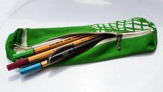 green & white small pencil case