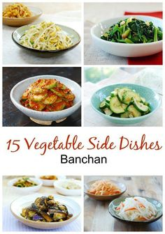 A collection of 15 delicious Korean vegetable side dishes (banchan) you can make at home! A collection of 15 delicious Korean vegetable side dishes (banchan) you can make at home! Here's a collection of easy and healthy Korean vegetable side Taco Side Dishes, Korean Side Dishes, Dinner Side Dishes, Side Dishes Easy, Side Dish Recipes, Food Dishes, Asian Recipes, Food Food, Vegetarian Recipes
