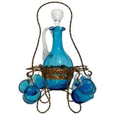 Antique French Blue Glass Liquor or Aperitif Cabaret Set with Ormolu Stand | From a unique collection of antique and modern barware at https://www.1stdibs.com/furniture/dining-entertaining/barware/