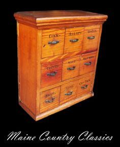 Antique 9 DRAWER SPICE CHEST Pine Herb Storage Apothecary Cabinet
