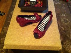 My wedding shoes - Ruby Red Slippers. Modge Podge, glitter and clear coat.