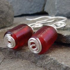 Red Glass Cylinder Earrings with Silver Spirals from TBeads on ArtFire