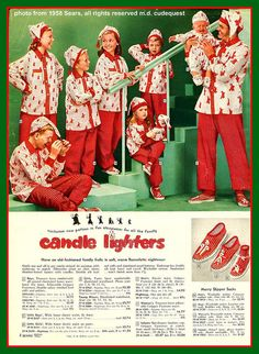 Christmas pajamas for the whole family!  Outfit one and all in gay candy-striped pajamas with nightcaps to match!  Don't forget the Merry Slipper Socks!