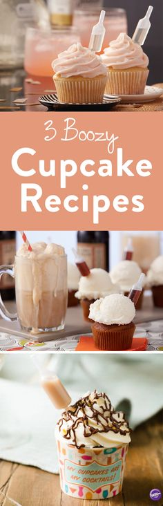 Three Intoxicating Boozy Cupcake Recipes - Give your cupcakes a kick! Check out these three booze infused cupcakes by using Wilton's Shot Tops Flavor Infusers. Want to make them non-alcoholic? No problem, these recipes are easy to customize and still packed with flavor!