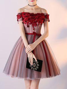 8c72c2ef17 Stylewe Burgundy Mini Dresses Off Shoulder A-line Going out Dresses Short  Sleeve Vintage Paneled